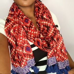 Red and Blue Patterned Scarf